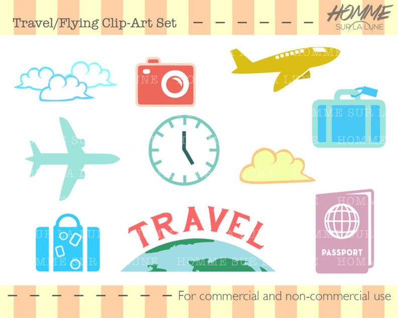 Scrapbooking Travel Icons Clipart Clipart Scrapbook Clipart Luggage Clipart Plane Clipart Travel Scrapbook Supplies Travel Clipart