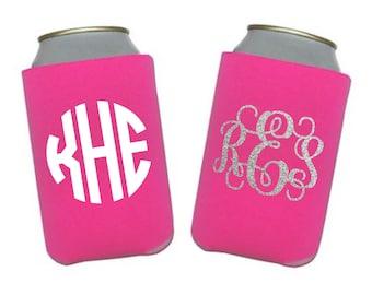 SALE Monogram Can Cooler, Personalized Beverage Insulator, Cozie