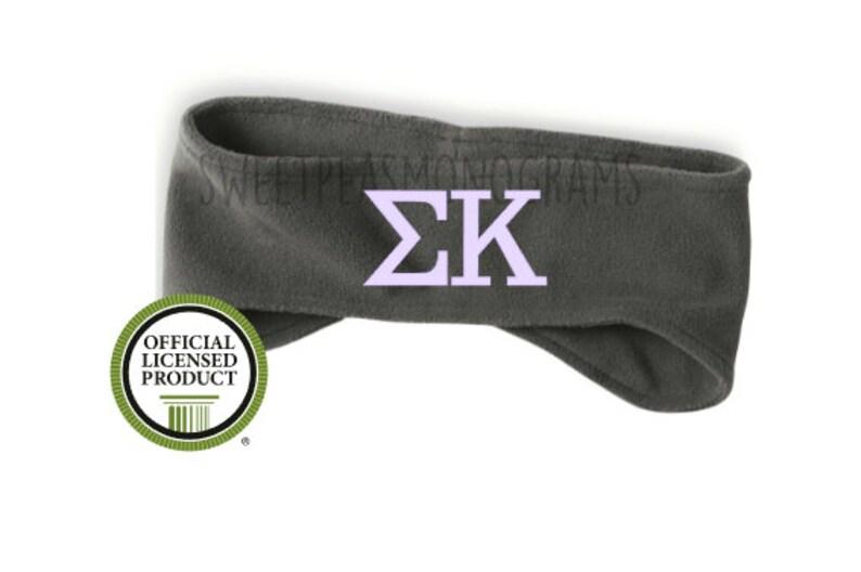 Sorority Gift Sorority Fleece Headband Monogram Ear Warmers Sigma Kappa Headband Sig-Kap Fleece Headband Monogram Headband