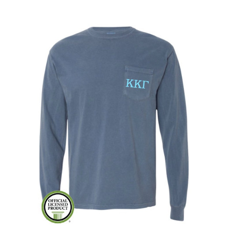 90be3f0e6c62 Kappa Kappa Gamma Comfort Colors LONG Sleeve Pocket Tee Greek
