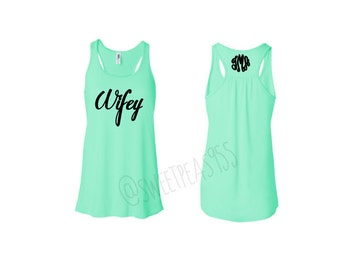 Wifey Tank top, Newlywed Shirt, Bride Shirt, Bridal Gift, Monogram tank top