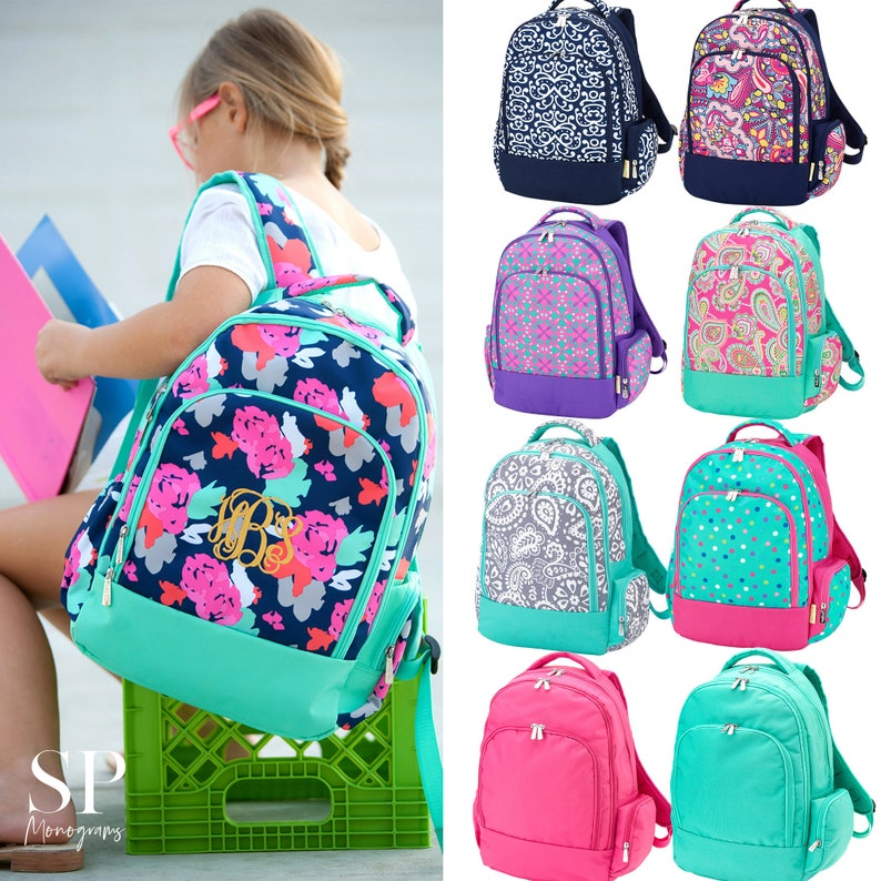 Monogram Backpack Personalized Girls Backpack Back to School image 0