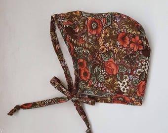 Floral, fleece lined, winter, bonnet
