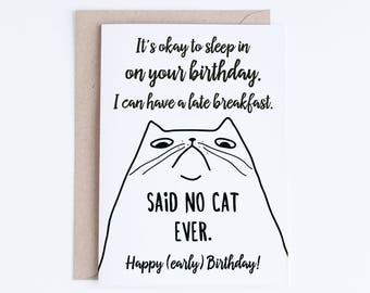 Printable Funny Birthday Cards Black and White Cat Cards Cat Etsy