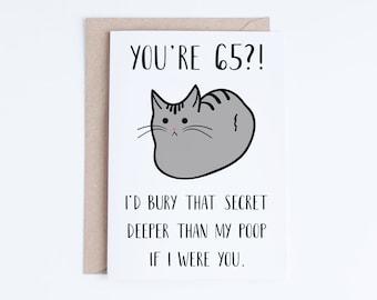 Funny 65th Birthday Cards, Printable Cat 65 Birthday Card, Getting Old Card, Printable Cat Card, Instant Download, 65 Birthday Funny