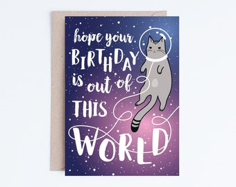 Galaxy Printable Birthday Cards Funny Space Cat Card Kawaii Cute Grey Digital Download Catronaut