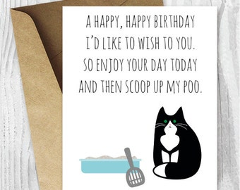 Printable Funny Birthday Cards Black And White Cat Instant Download Tuxedo From The