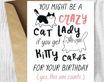 Funny Birthday Cards For Her Instant Download Crazy Cat Lady Printable Friend Sister Card