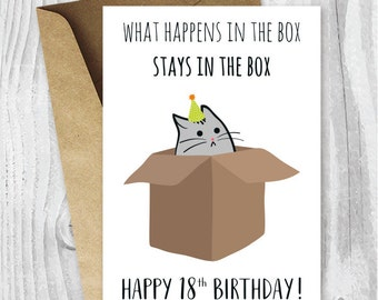 18th Birthday Printable Cards Funny Cat Card Instant Download 18