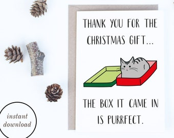Christmas Thank You Cards Instant Download, Funny Cat Christmas Printable Cards, Christmas Cards for Cat Lovers, Cat Illustration Card