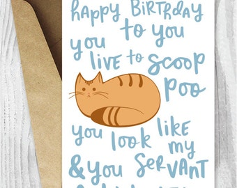 Funny Birthday Song Card From The Cat Printable Happy Poem Ginger Digital Orange Instant Download