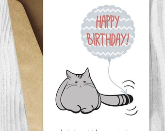 Birthday Card Printable Funny Cat Grumpy Instant Download Digital