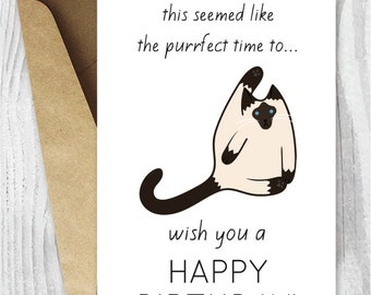 Funny Birthday Cards Printables Siamese Cat Printable Card Digital Download Silly Cats