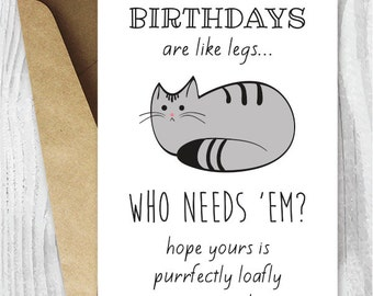 Funny Birthday Cards Cat Printable Digital Download Loaf Card To Print Grey