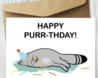 Printable Birthday Card Cat DIY Happy Purr Thday Cards Funny Quirky Instant Download