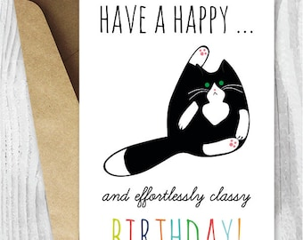 Printable Birthday Cards Funny Cat Instant Download Tuxedo Black And White Butt Licking Cats