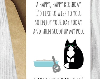 Printable Funny Birthday Cards Black And White Cat Dad Instant Download Tuxedo From The