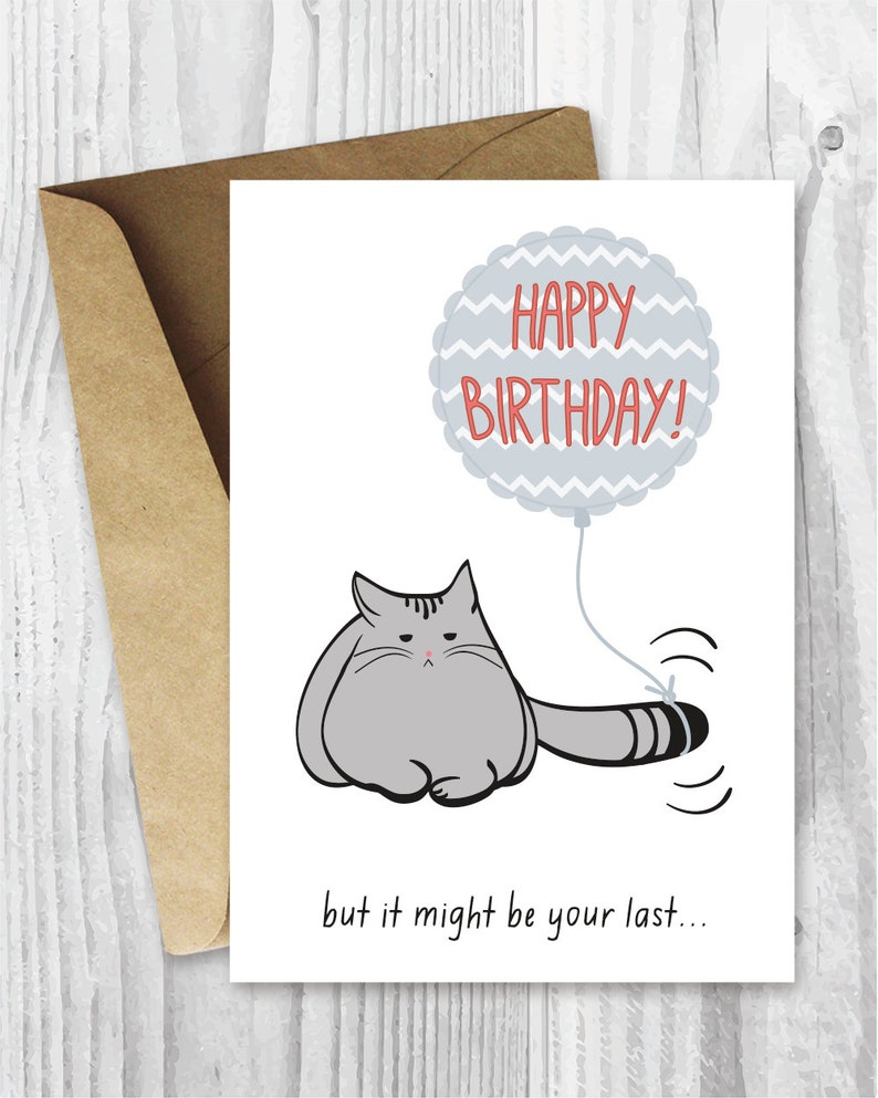 Birthday Card Printable Funny Cat