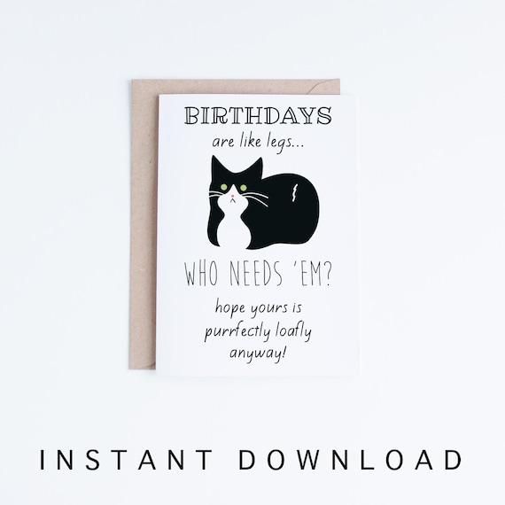Funny Birthday Cards Tuxedo Cat Birthday Printable Cards Etsy