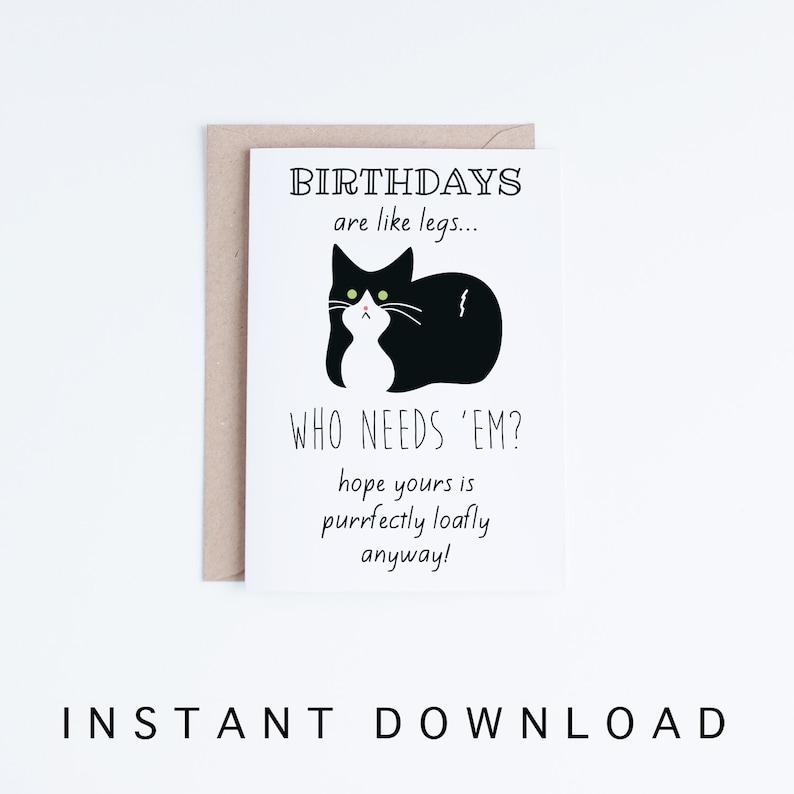 Funny Birthday Cards Tuxedo Cat Birthday Printable Cards