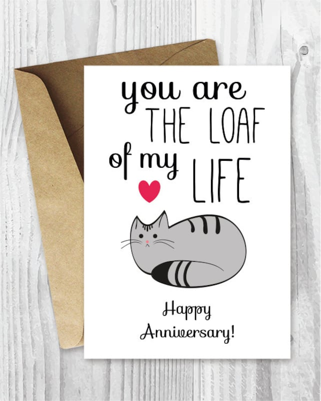 Anniversary Cards Printable Anniversary Card Cat Loaf Funny | Etsy