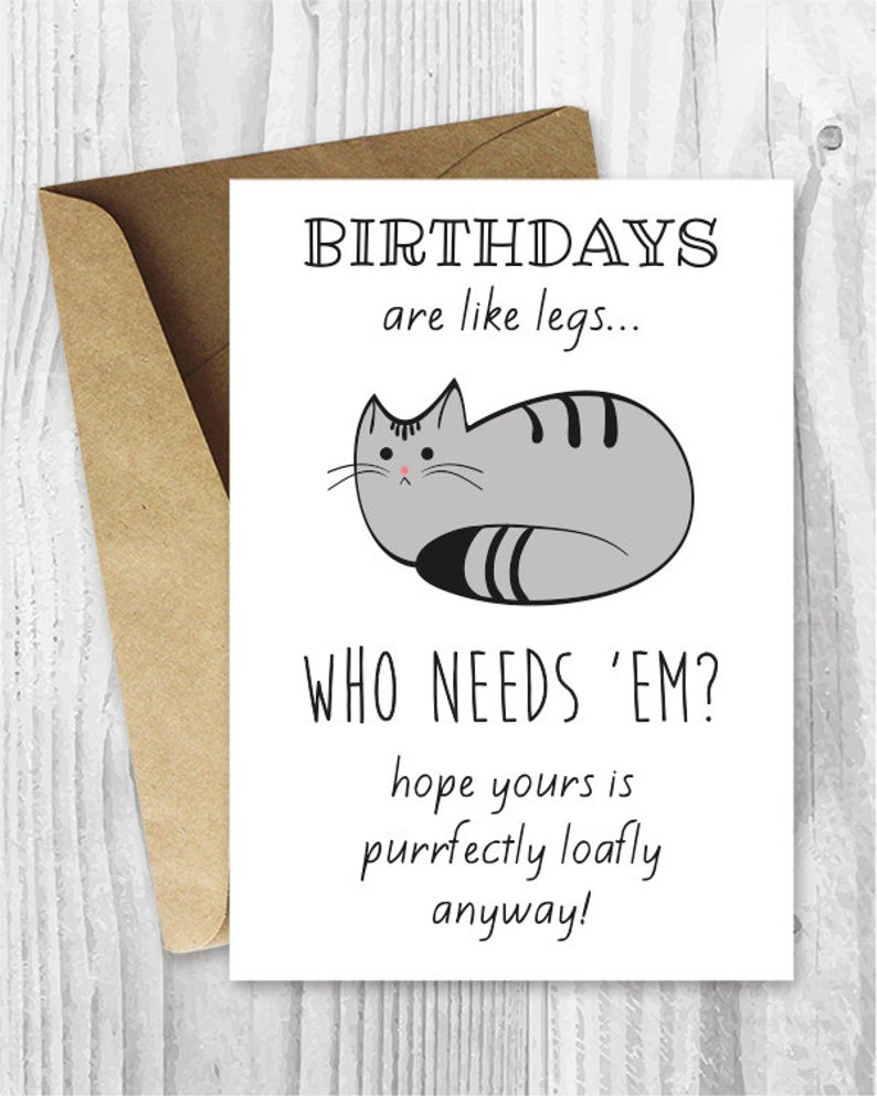 Funny Birthday Cards Cat Printable Digital