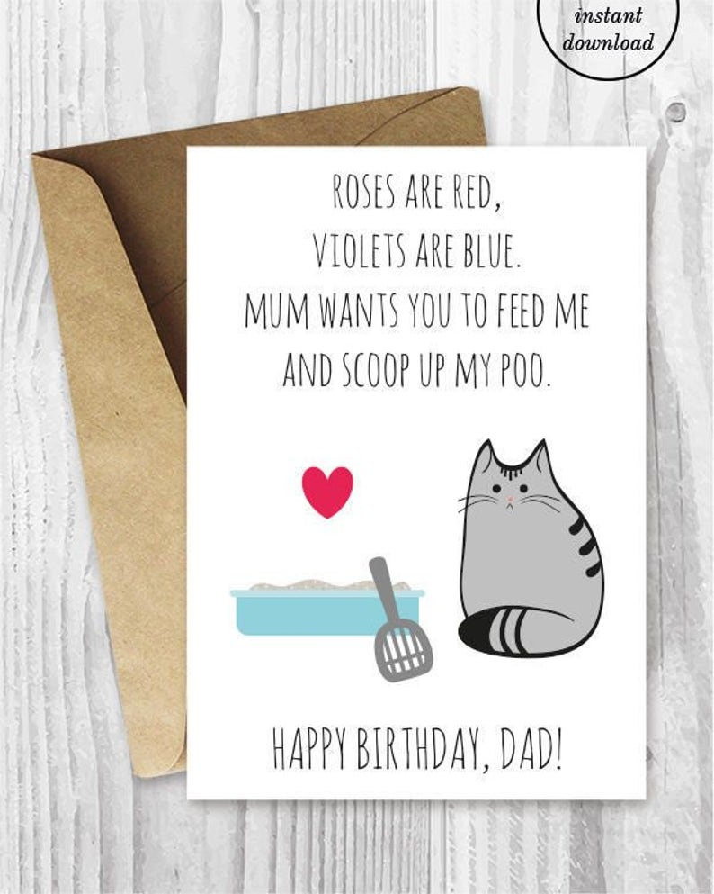 DIY For Him Birthday Card Printable Dad UK Funny Cat