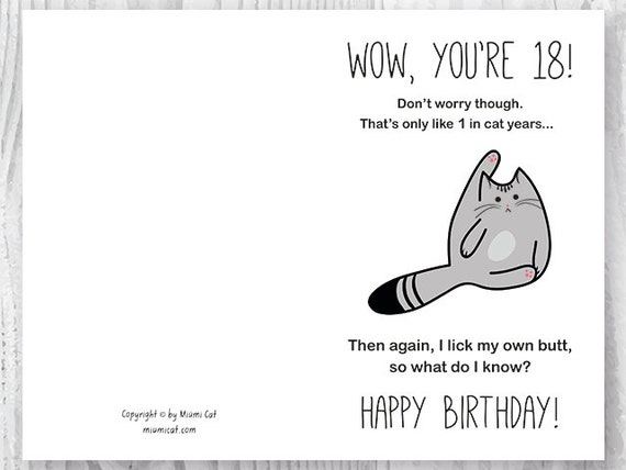 18th Birthday Printable Cards Printable Funny Birthday Cards Etsy