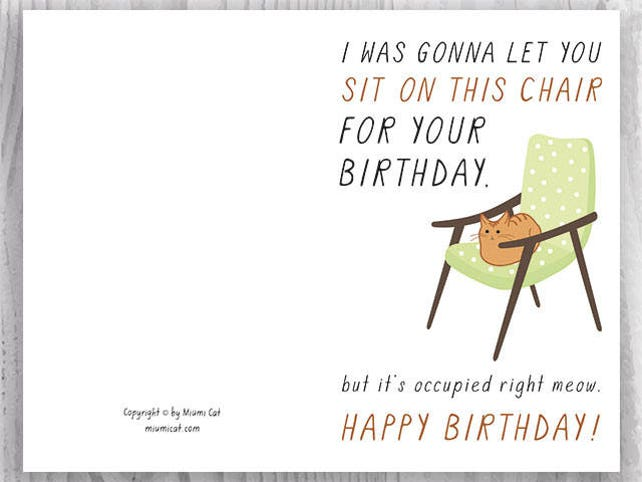 Funny Cat Birthday Cards Instant Download Printable For Friends Lovers Ginger Card Orange