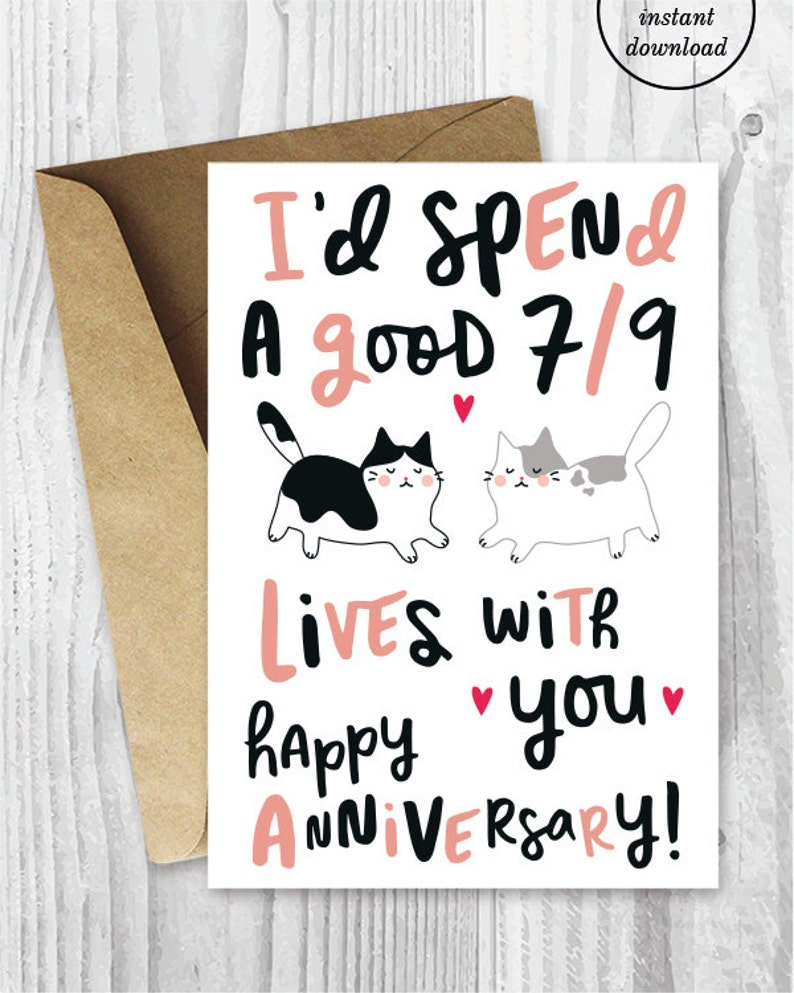 photo relating to Funny Printable Anniversary Cards titled Anniversary Playing cards, Printable Anniversary Card, Humorous Anniversary Card, Amusing Cats Printable Card, Immediate Obtain, Lovely Cats Anniversary