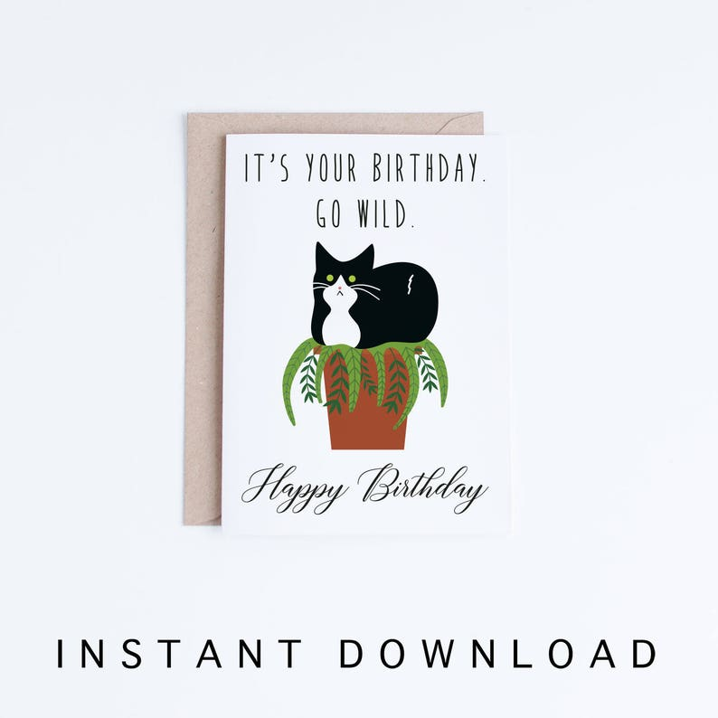 Funny Cat Birthday Cards Instant Download Tuxedo