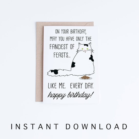 Funny Cat Birthday Cards Printables Black And White