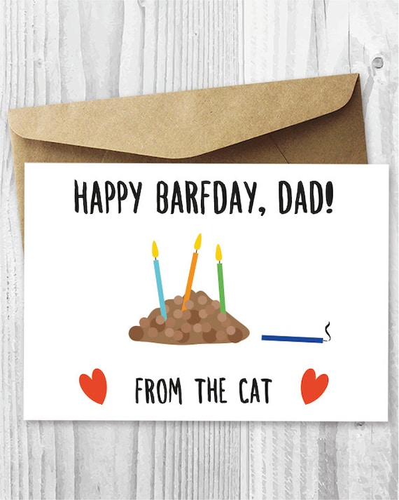Funny Printable Birthday Card From The Cat Cat Barfday Etsy
