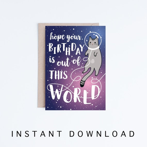 Galaxy Printable Birthday Cards Funny Space Cat