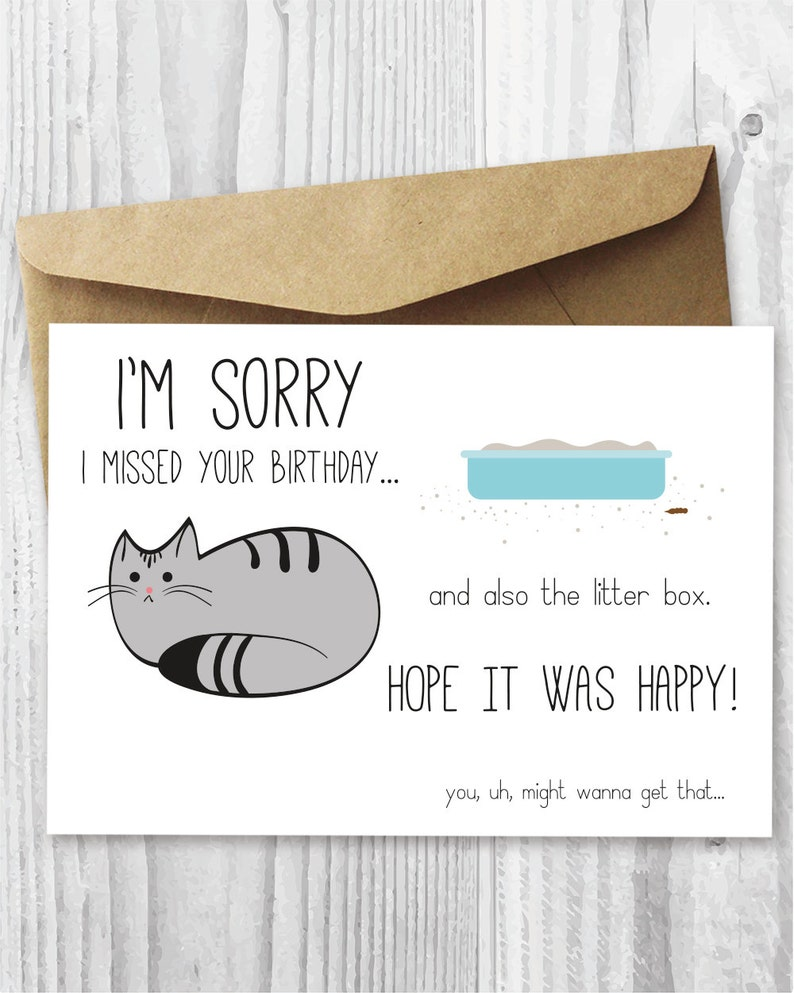 Belated Birthday Card Funny Digital