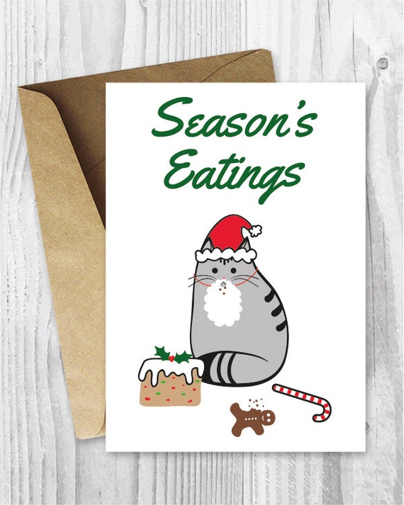 Printable holiday cards seasons eatings cat card funny etsy image 0 m4hsunfo