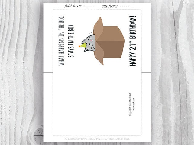 21st Birthday Printable Cards Funny Cat Card Instant Download 21