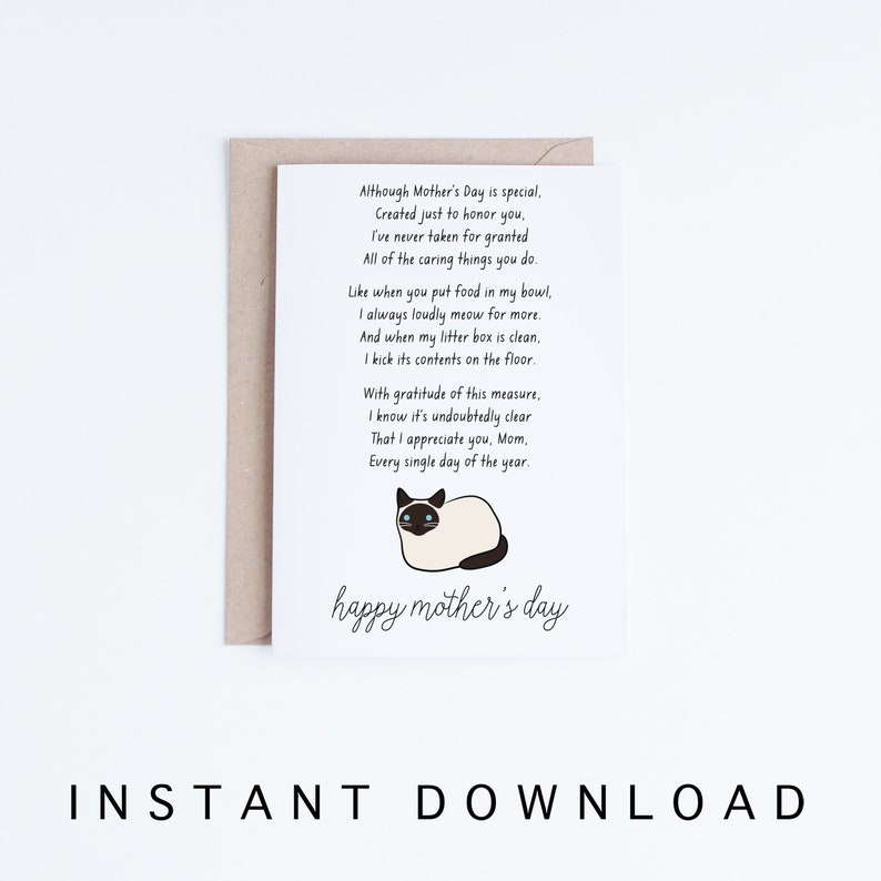 graphic regarding Mothers Day Card Printable named Moms Working day Card Printable, Humorous Cat Moms Working day Card, Siamese Cat Mother Electronic Card, Poem Printable Card, Instantaneous Down load, Fur Mother Card