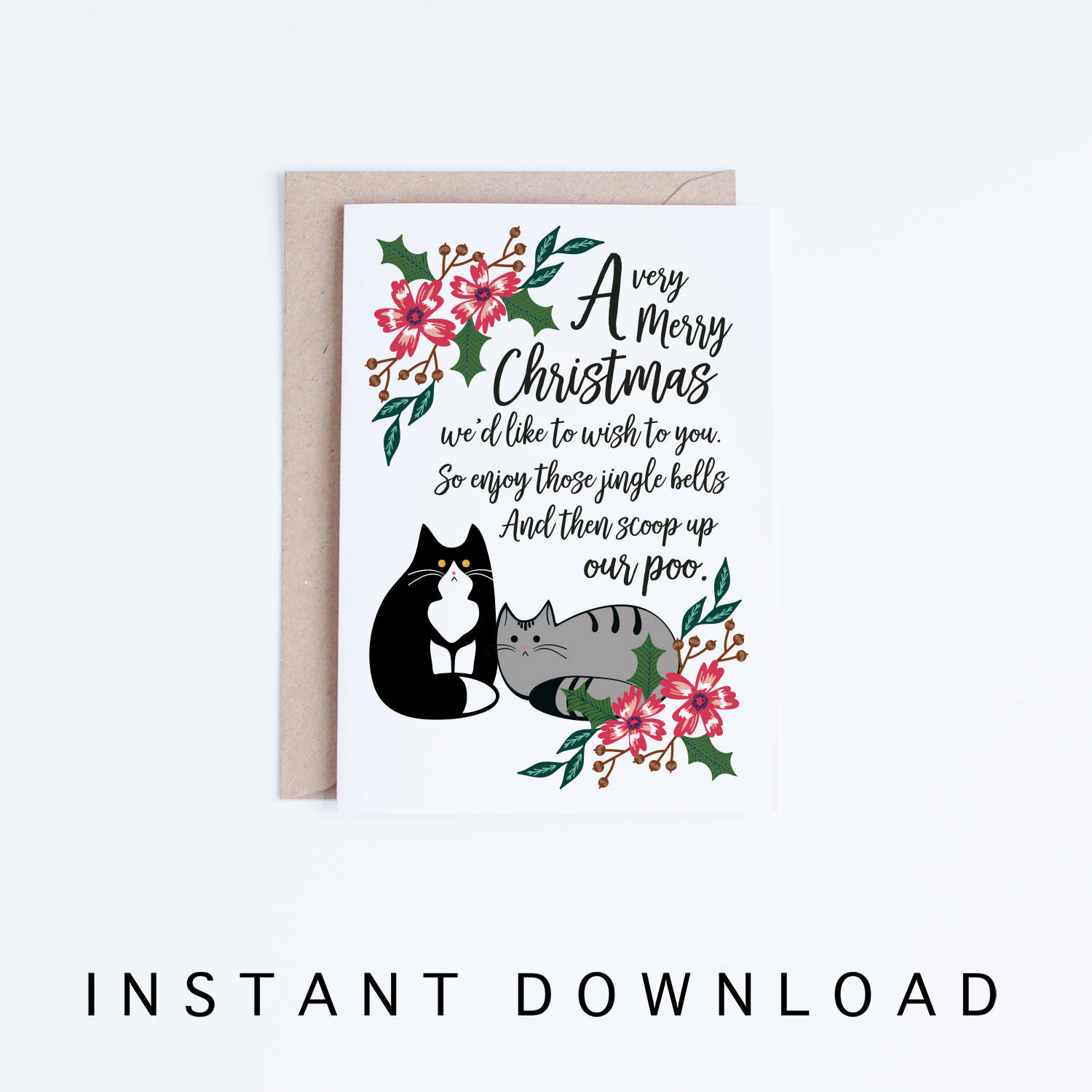 Printable Christmas Greeting Cards Funny Tuxedo Cat Christmas | Etsy