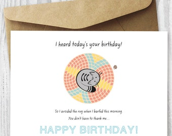 funny printable birthday card cat birthday printable card download quirky printable birthday card greeting cards diy instant downloads