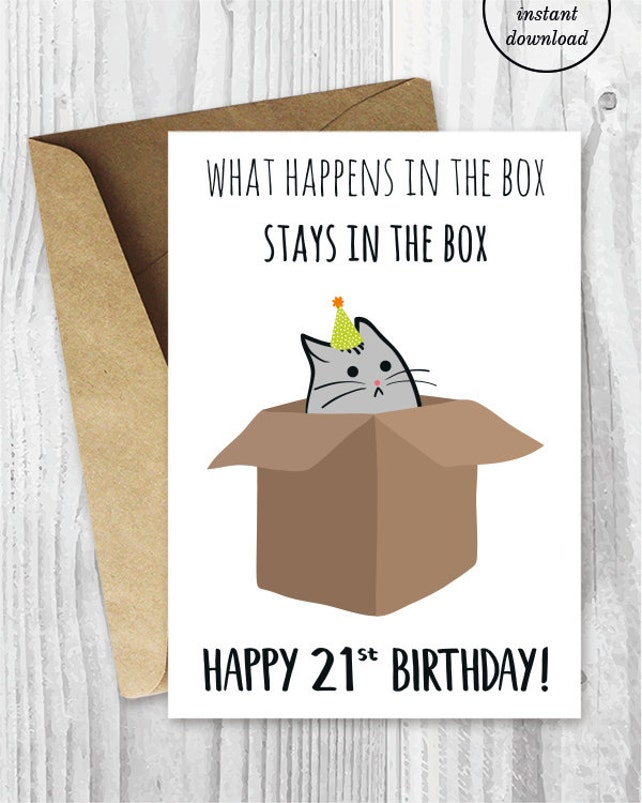 21st Birthday Printable Cards Funny Cat Card