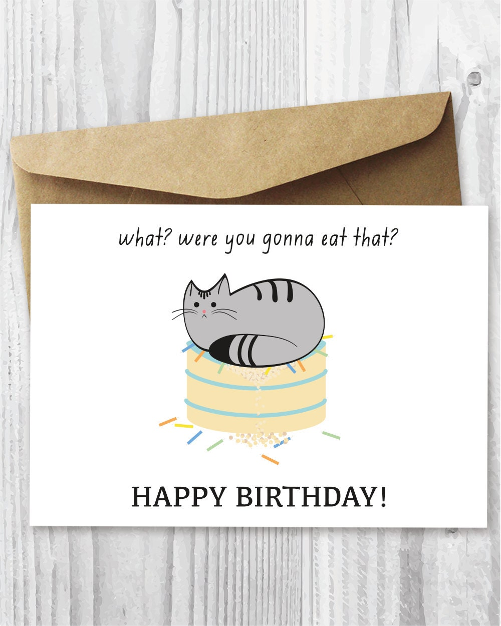 Printable Cat Birthday Card Happy Digital Funny Quirky On Cake Instant Downloads