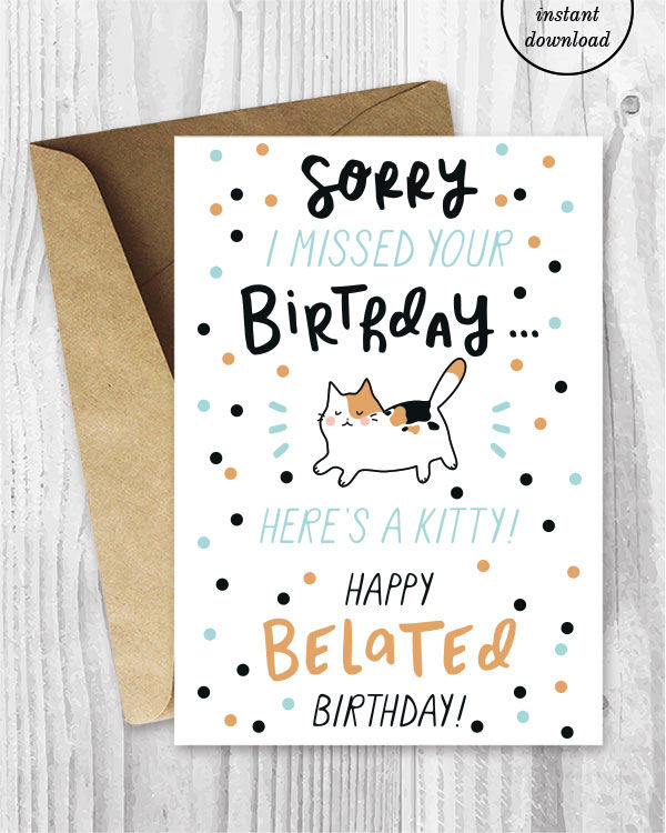 Clean image regarding printable belated birthday cards