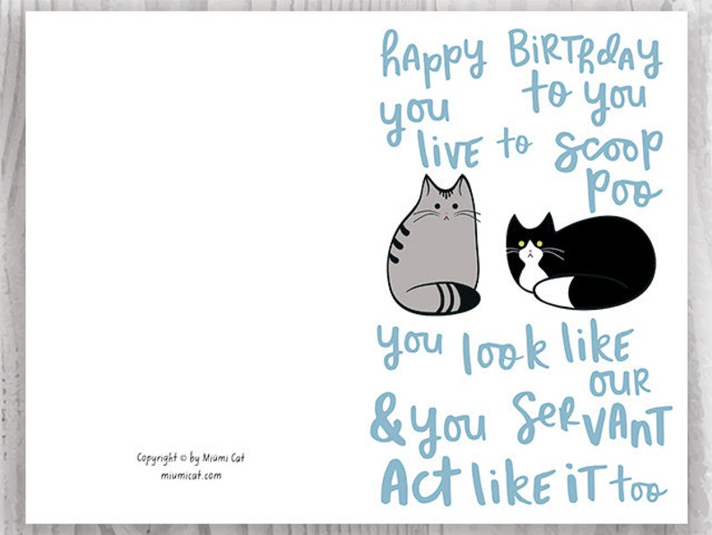Funny Birthday Song Card from the Cats Printable, Funny Happy Birthday Poem  Card, Tabby Cat and Tuxedo Cat Card Instant Download