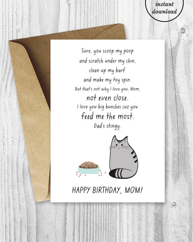 picture relating to Printable Birthday Cards for Mom Funny called Printable Birthday Card for Cat Mothers, Humorous Cat Birthday Card for Her, Printable Birthday Card for Her, Fast Down load, Fur Little one Mother