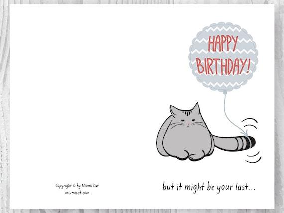 Birthday Card Printable Birthday Card Funny Cat Birthday Etsy