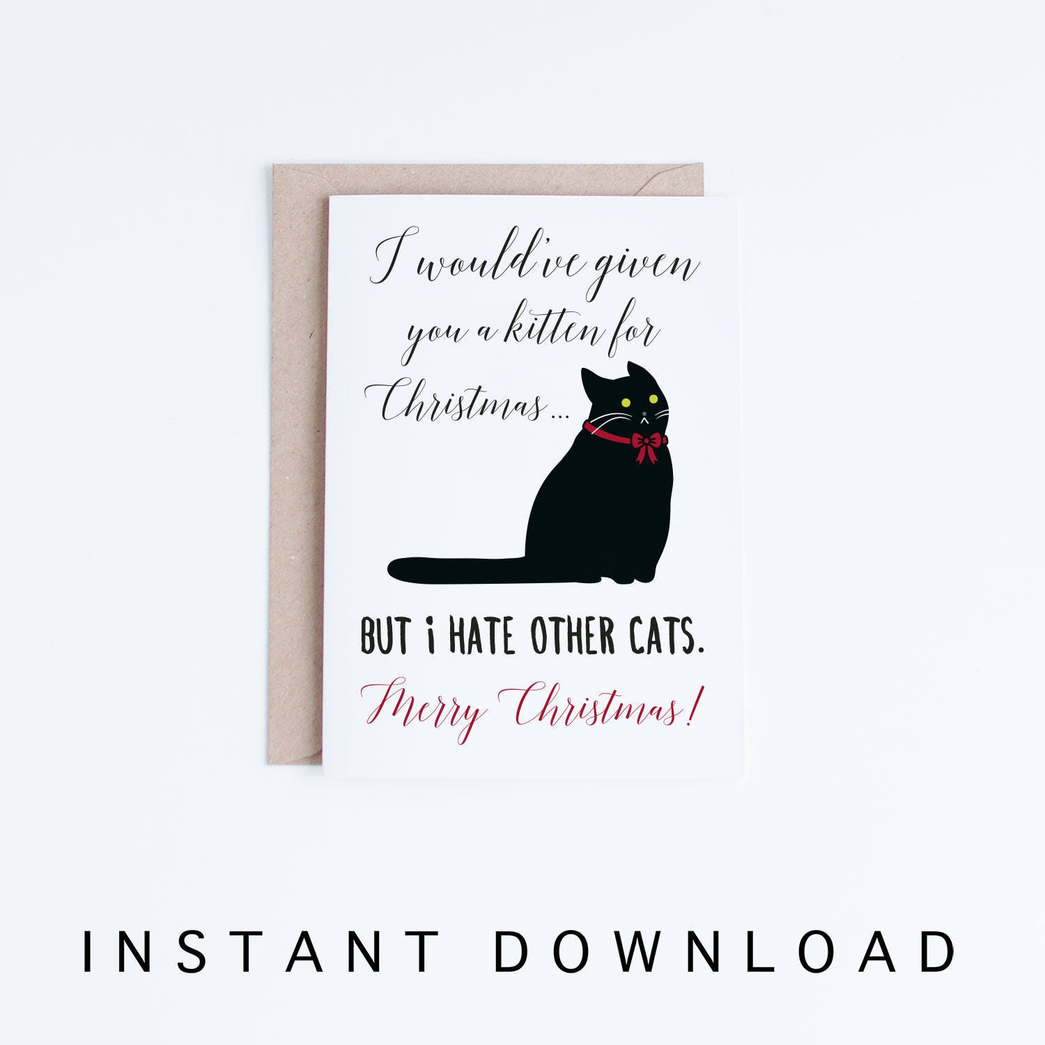 Printable Holiday Cards Funny Black Cat Christmas Card Cat | Etsy