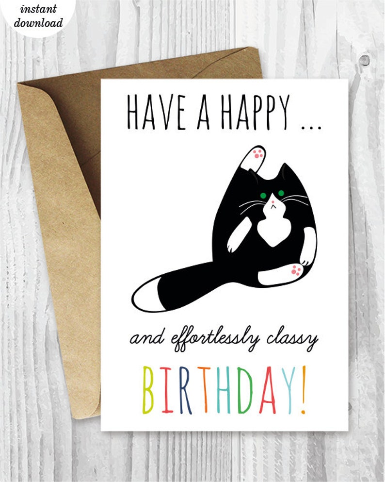 Printable Birthday Cards Funny Cat Instant