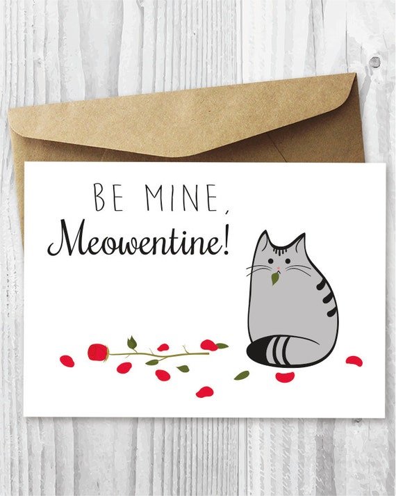 Valentine Card Printable Cat Valentine S Day Card Etsy
