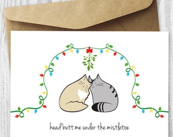 Christmas Cards, Printable Christmas Cat Cards, Love Cats, Printable Card, Mistletoe, Instant Download, Romantic Christmas Card, Kitty Love